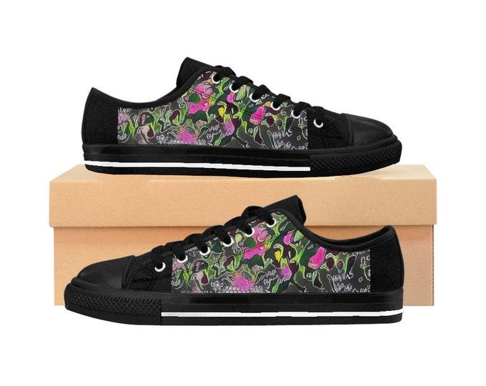 Women's Sneakers  Black Purple Dream Garden