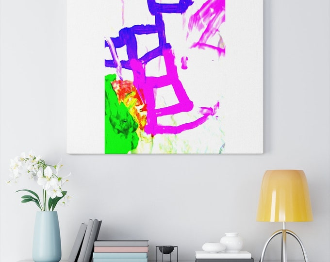 Canvas Gallery Wraps Pink and Blue Ladders Art