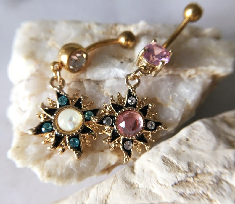 Body Jewelry Flower Belly Ring Belly bar,Navel Piercing Ring,Belly Button Ring Opal Belly Ring,