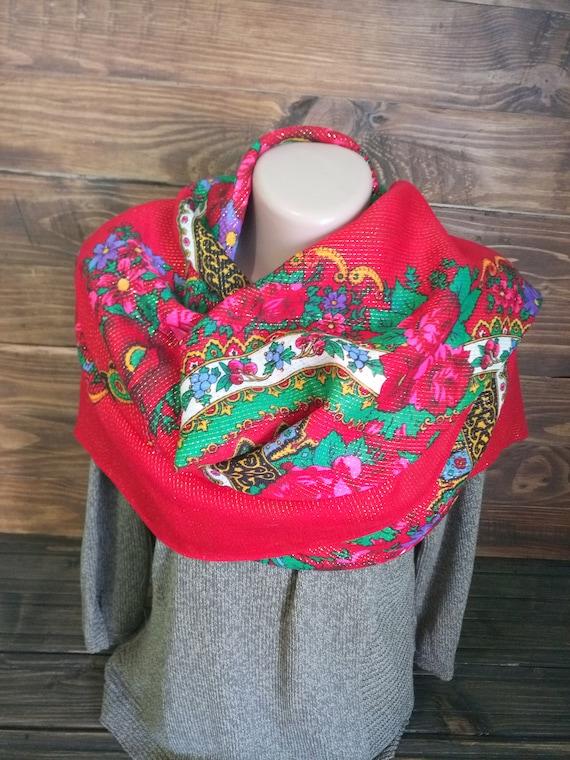 Large wool shawl, Vintage women scarf, Ukrainian s