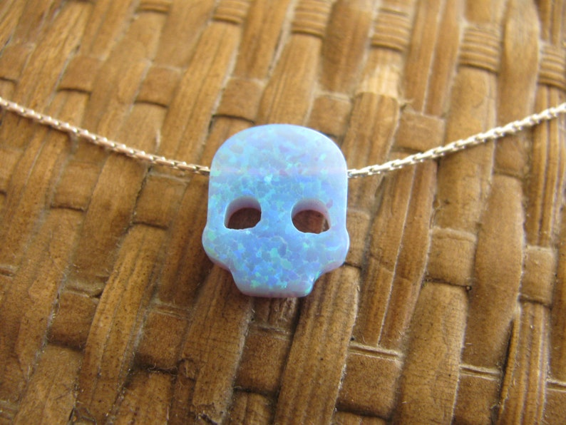 Silver Necklace Skull Blue Opal Necklace Biker Skull Silver Necklace Pendant Opal Necklace Skull Jewelry Gothic Necklace Head Skull