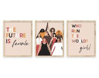 Feminist Poster Bundle,Feminist Gallery Wall,Empowered Women Poster Set,Girl Power Poster Set,Boho Feminist Art,Feminist Nursery Art Set