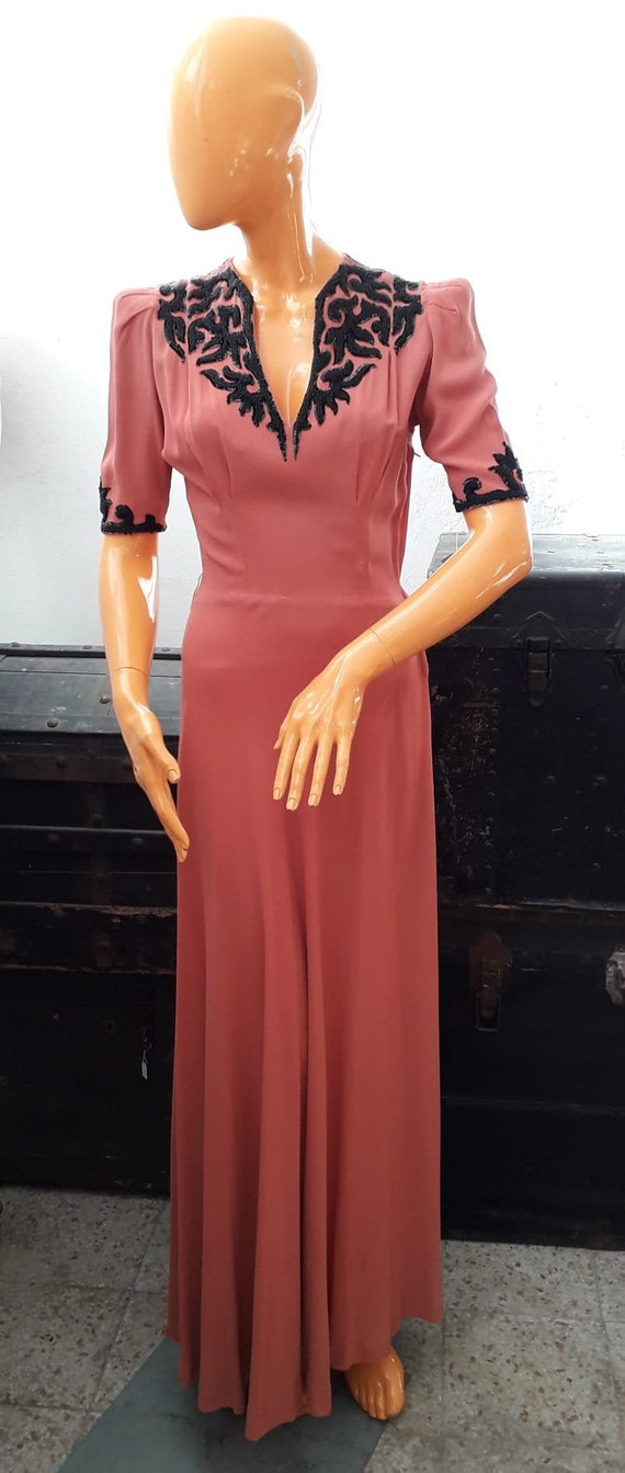 30s silk dress - image 1