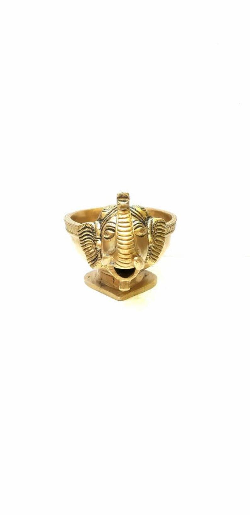 Brass oil diya Elephant oil lamp Indian traditional worship idol oil burner for pooja temple or diwali decor incense holder