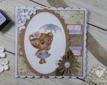 Bella Bear in the Sun Handmade Card