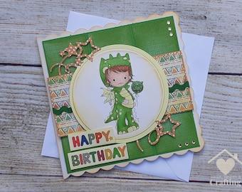 Little Dude Dragon Onesie Handmade Birthday Card for Boys