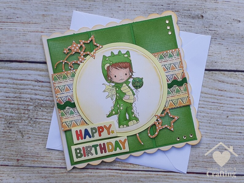 Little Dude Dragon Onesie Handmade Birthday Card for Boys image 0