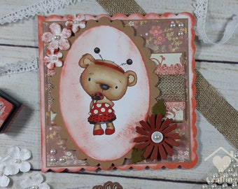 Bella Bear Ladybug Handmade Card