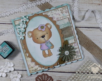 Bella Bear Milkshake Handmade Card