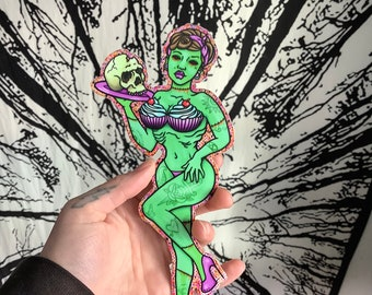 Americana Decal Art Holographic or Glossy Vinyl Rock the House Zombie Pinup Sticker Rockabilly Horror California 3 x 2.5 Inches