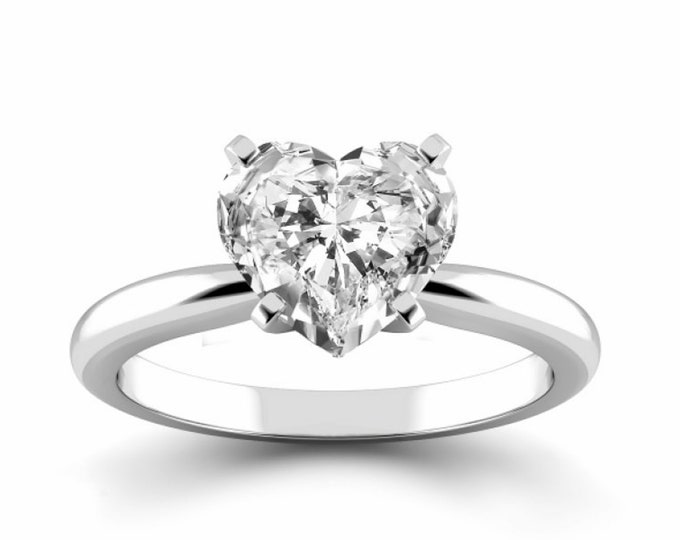 Heart Shape Moissanite Ring Anniversary Ring Wedding Ring 18KT White Gold Ring Proposal Ring Solitaire Ring Friendship Day Gift