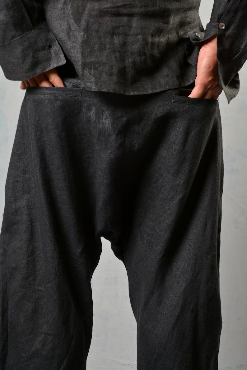 Linen Harem Pants Set of 2 Men Linen Outfit Plus Size Linen Drop Crotch Pants Men Linen Set Minimalist Shirt Elegant Black Shirt
