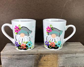 Gnome with spring flowers mug.