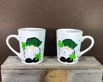 Gnome with shamrock mug.