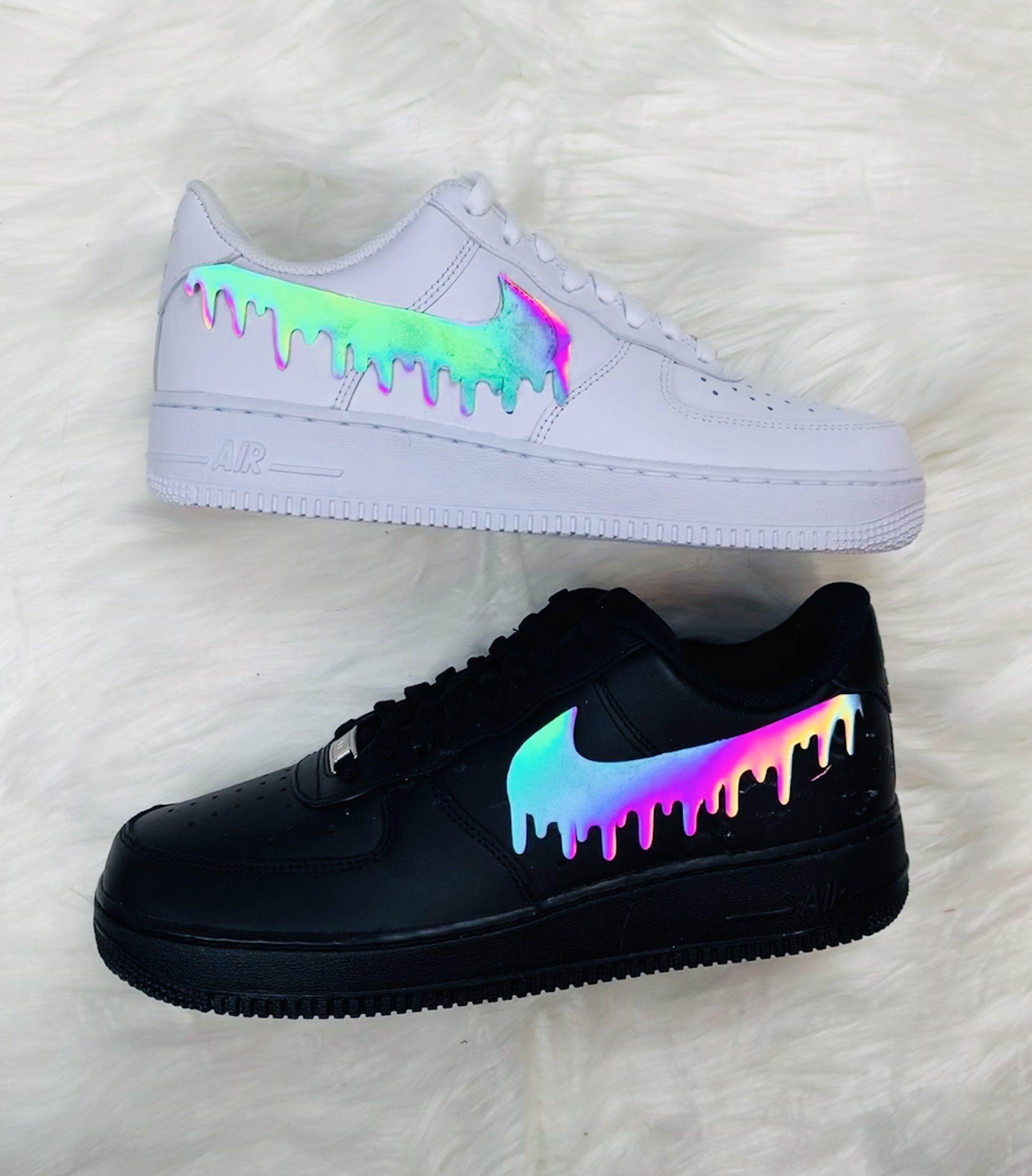 Fai da te Nike Air Force Custom / Iron On Heat Transfer / Vinyl Stickers / Rainbow Iridescent Drip / 3M Reflective/Holographic Shoes/ Custom AF1