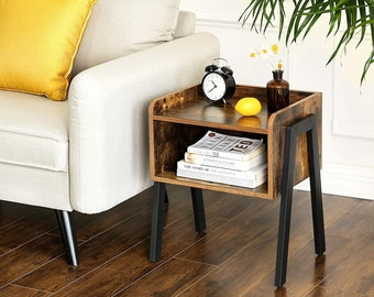 Rustic side table, Nightstand, Stackable End Table with Open Storage Furniture. Industrial style with steel metal legs