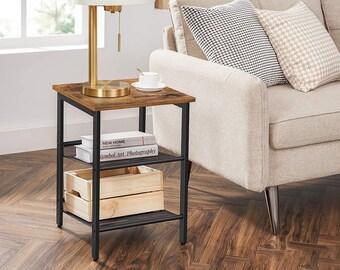 Side Table Set, Industrial Set of 2 Bedside Tables, Adjustable Mesh Shelves, Living Room, Bedroom, Rustic Brown & Black