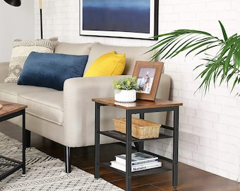 Rustic side table with mesh shelving, easy to assemble, sturdy steel frame, adjustable shelving, bedroom table