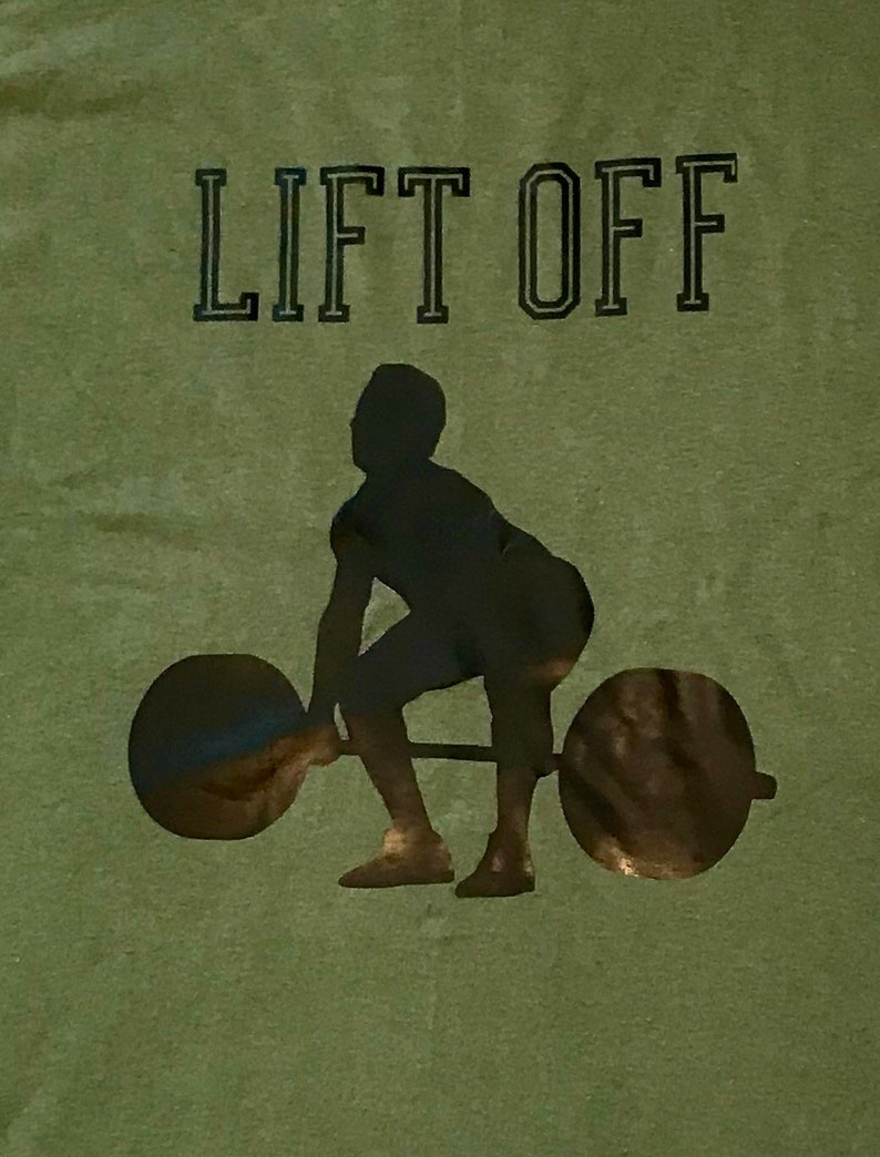 weight lifting and sportfitness. Perfect for training Men/'s Printed GymWorkout T-shirt with quote /'Lift Off/' Motivational and practical