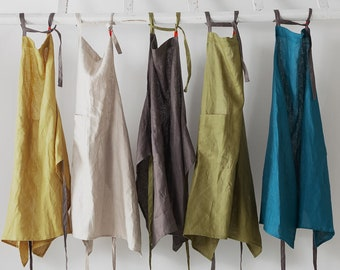 NEW! Linen Apron, Apron for Women and Men with pocket, Pinafore Apron, Washed Linen Apron for Cooking, Gardening, Kitchen, Lightweight Apron