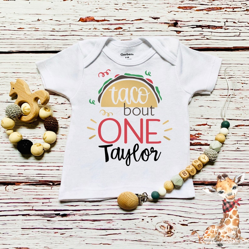Personalized Baby Name Taco First Birthday Onesie\u00ae Taco Theme First Birthday Taco Bout One First Birthday Shirt 1st Birthday Taco Onesie\u00ae
