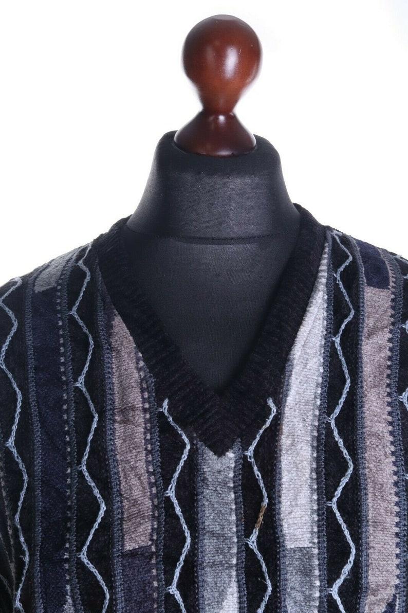 Men/'s TUNDRA Canada Black Cotton Blend V-Neck Coogi Style Jumper Sweater Size L