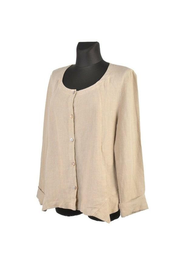 Women's OSKA Beige Linen Summer Jacket Blazer Size