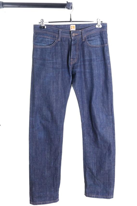 Men/'s HUGO BOSS ORANGE Navy Cotton C-Neck kobbe Sweater Size l
