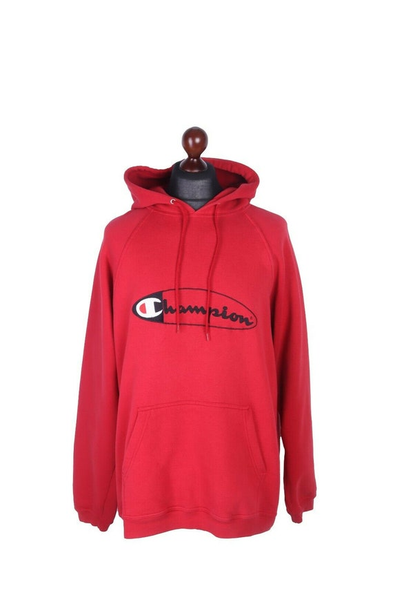 Men's CHAMPION Red Cotton Hoodie Size L
