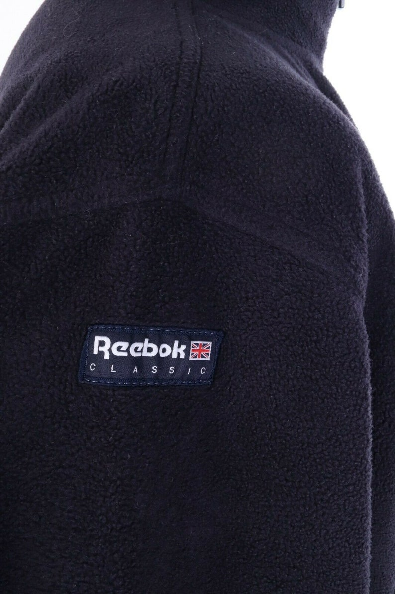 Men/'s REEBOK CLASSIC Navy Blue Fleece Zip Neck Oversized Sweater Size S
