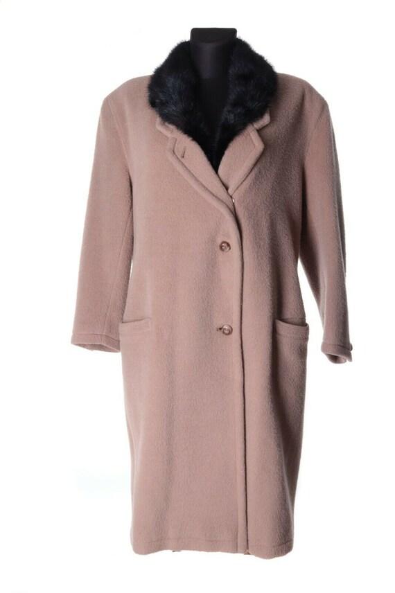 Vintage Women's GIANNI VERSACE Beige Wool Overcoat