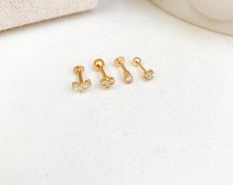 /12/paires de boucles doreille st/érile Boucles doreilles zarge avec pierre Erst acier chirurgical plaqu/é or/
