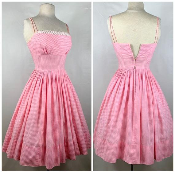 Vintage Pink & White Gingham 1950s Sundress - image 7