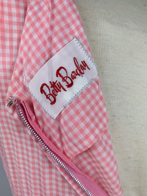 Pink Gingham 1950s / 60s Betty Barclay Cotton Sun… - image 6
