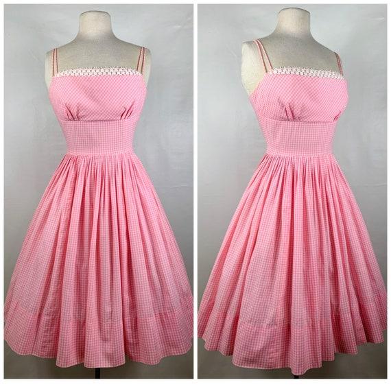 Vintage Pink & White Gingham 1950s Sundress