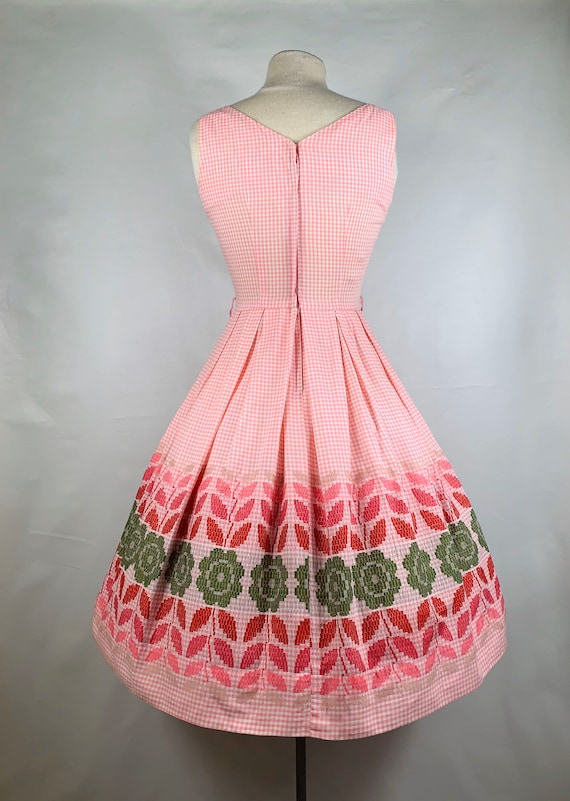 Pink Gingham 1950s / 60s Betty Barclay Cotton Sun… - image 3