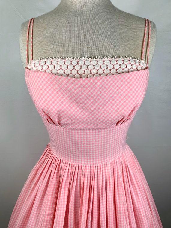 Vintage Pink & White Gingham 1950s Sundress - image 3