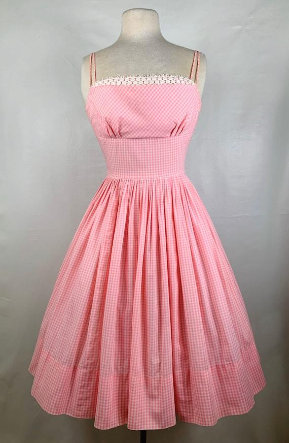 Vintage Pink & White Gingham 1950s Sundress - image 5