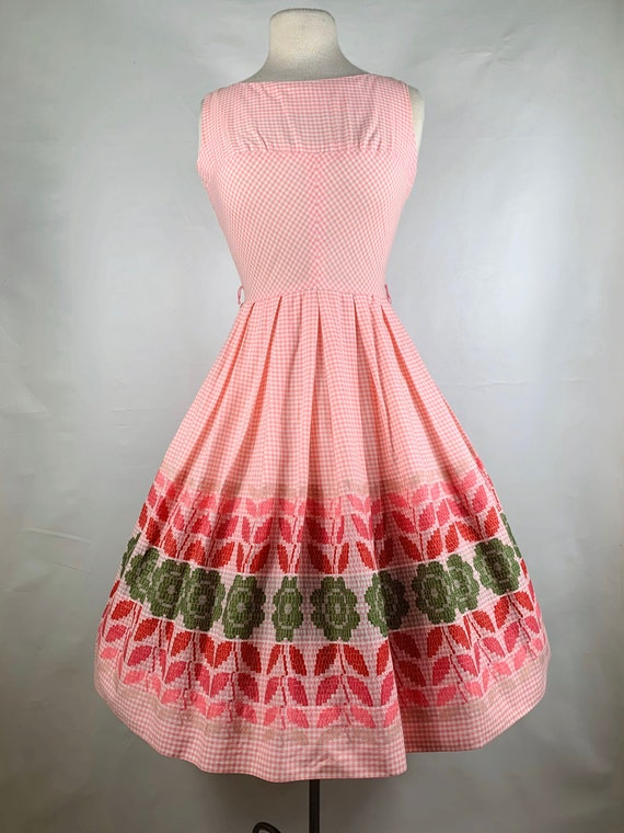 Pink Gingham 1950s / 60s Betty Barclay Cotton Sun… - image 2