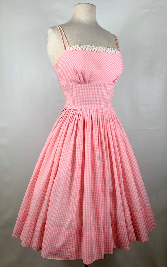 Vintage Pink & White Gingham 1950s Sundress - image 4