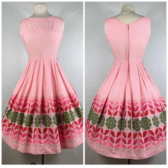 Pink Gingham 1950s / 60s Betty Barclay Cotton Sun… - image 1