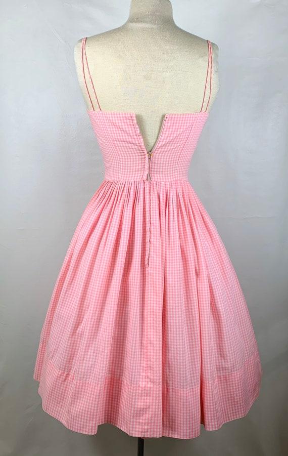 Vintage Pink & White Gingham 1950s Sundress - image 6