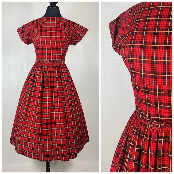 1950s Red & Black Plaid Cotton Vintage Dress