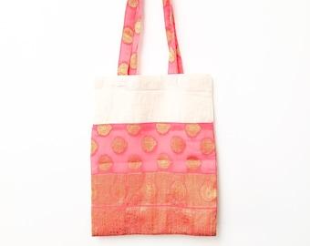 Pink Shopping Bag Repurposed Vintage Pink Silk Fabric Large Shopping Tote