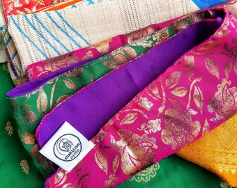 Upcycled sari gift wrap, reusable cloth fabric wrapping paper, furoshiki, zero waste, eco-friendly and ethically handmade in India