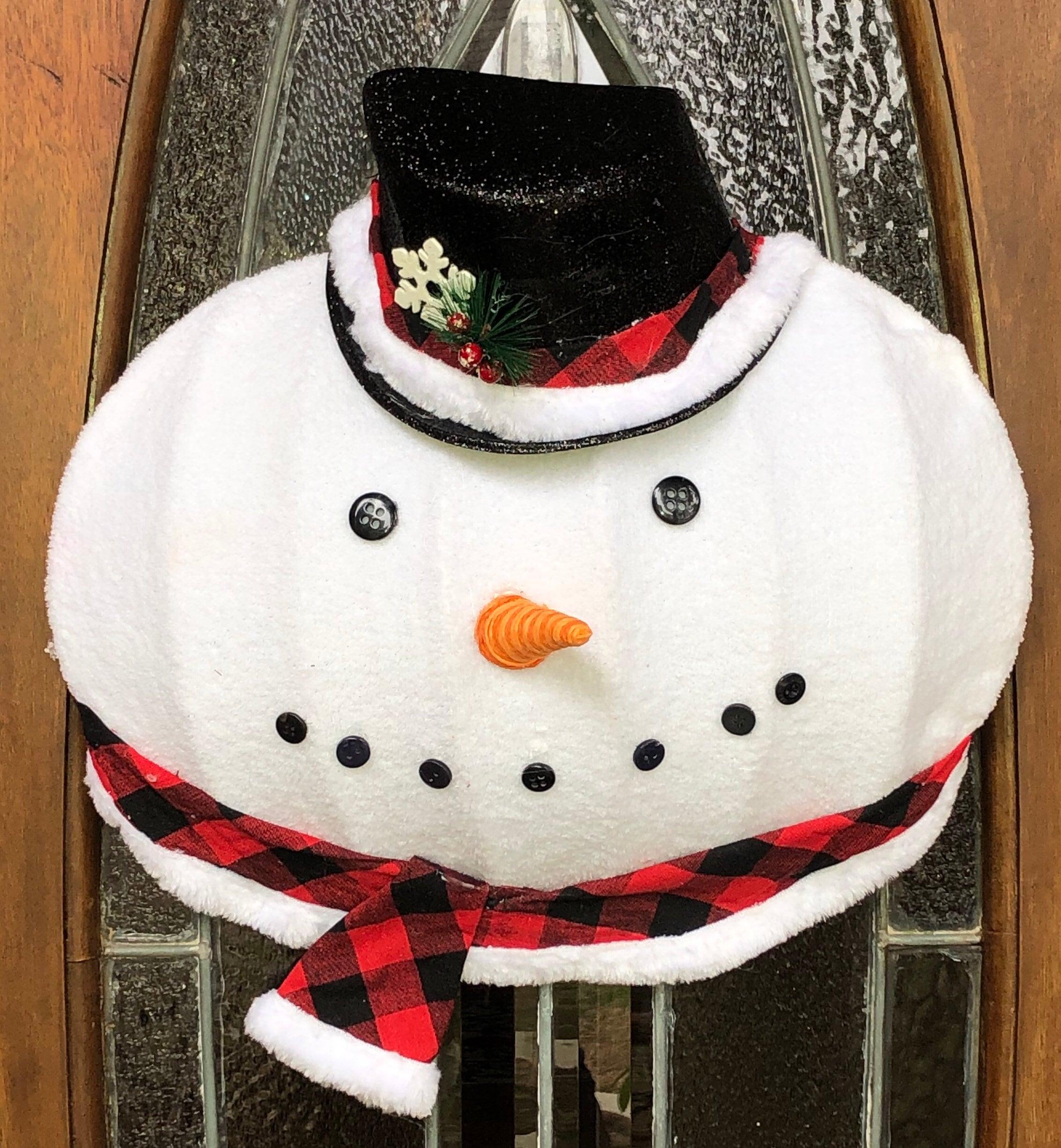 Snowman Christmas Wreath Door Hanger Holiday Wreath Snowman Decor Red Black Buffalo Check Christmas Decor