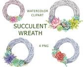 Succulent wreath watercolor clipart, Floral boho wreath clipart, Cacti clipart, Tropical flowers clipart, Floral frame PNG file, Digital PNG
