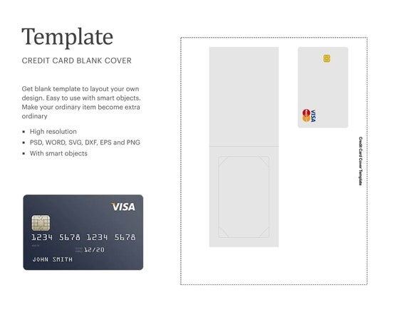 Credit Card Blank Cover Template Credit Card Holder Template Etsy