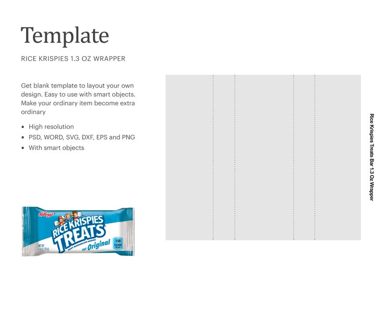 Rice Krispies Treat Bar 1.3oz Wrapper Blank Template ...