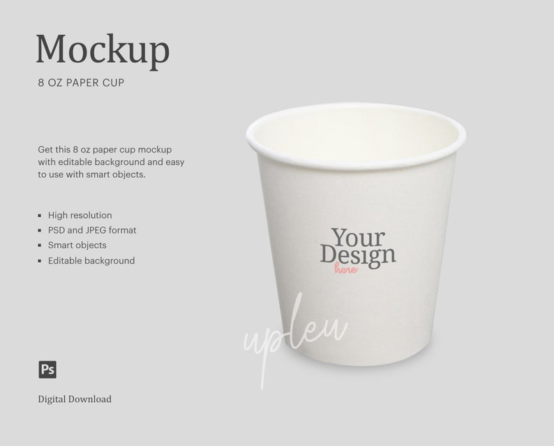 Coffee Cup Mock Up Party Cup Mock Up Smart Object Compatible With Affinity Designer Blank Cup Mock Up 8 Oz Paper Cup Mock Up